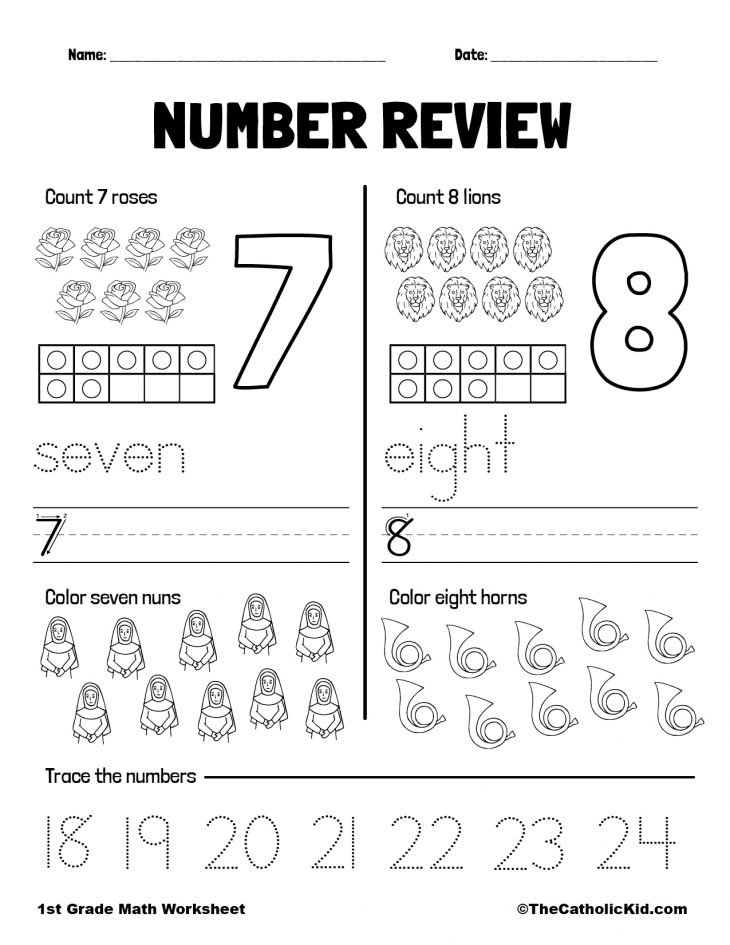 Counting Review Numbers 7 and 8 - 1st Grade Math Worksheet Catholic