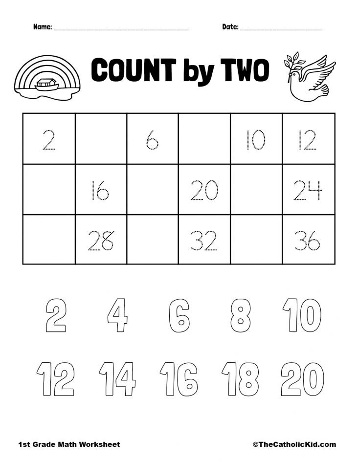 Count by Two - 1st Grade Math Worksheet Catholic