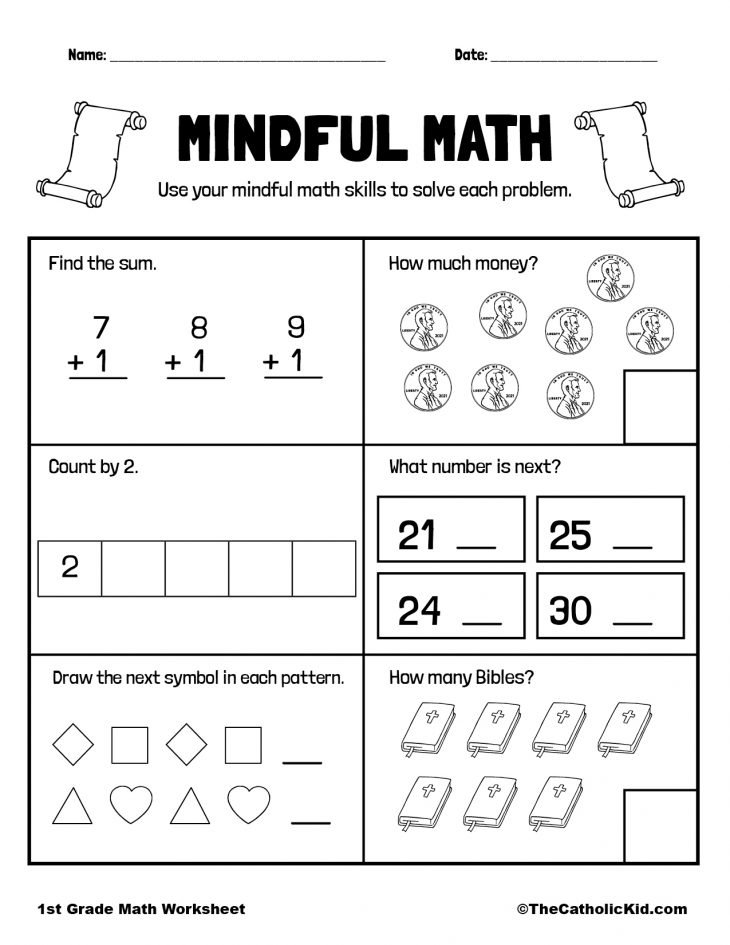 Math Review Printable - 1st Grade Math Worksheet Catholic
