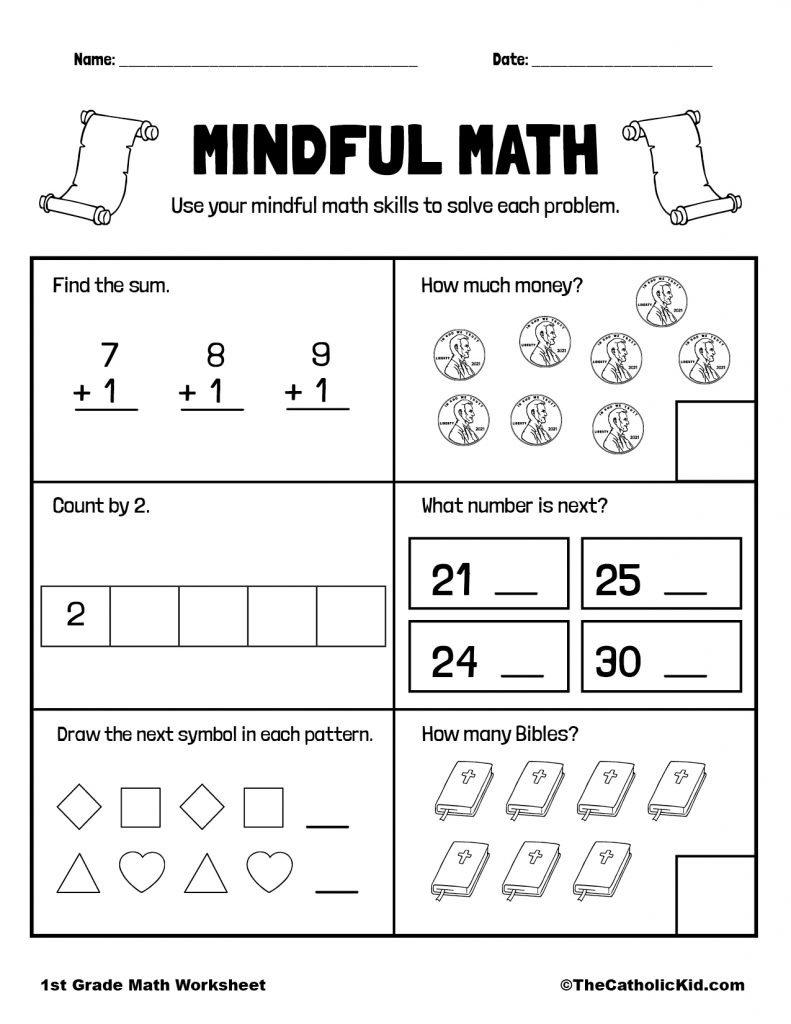 Math Review Printable - 1st Grade Math Worksheet Catholic
