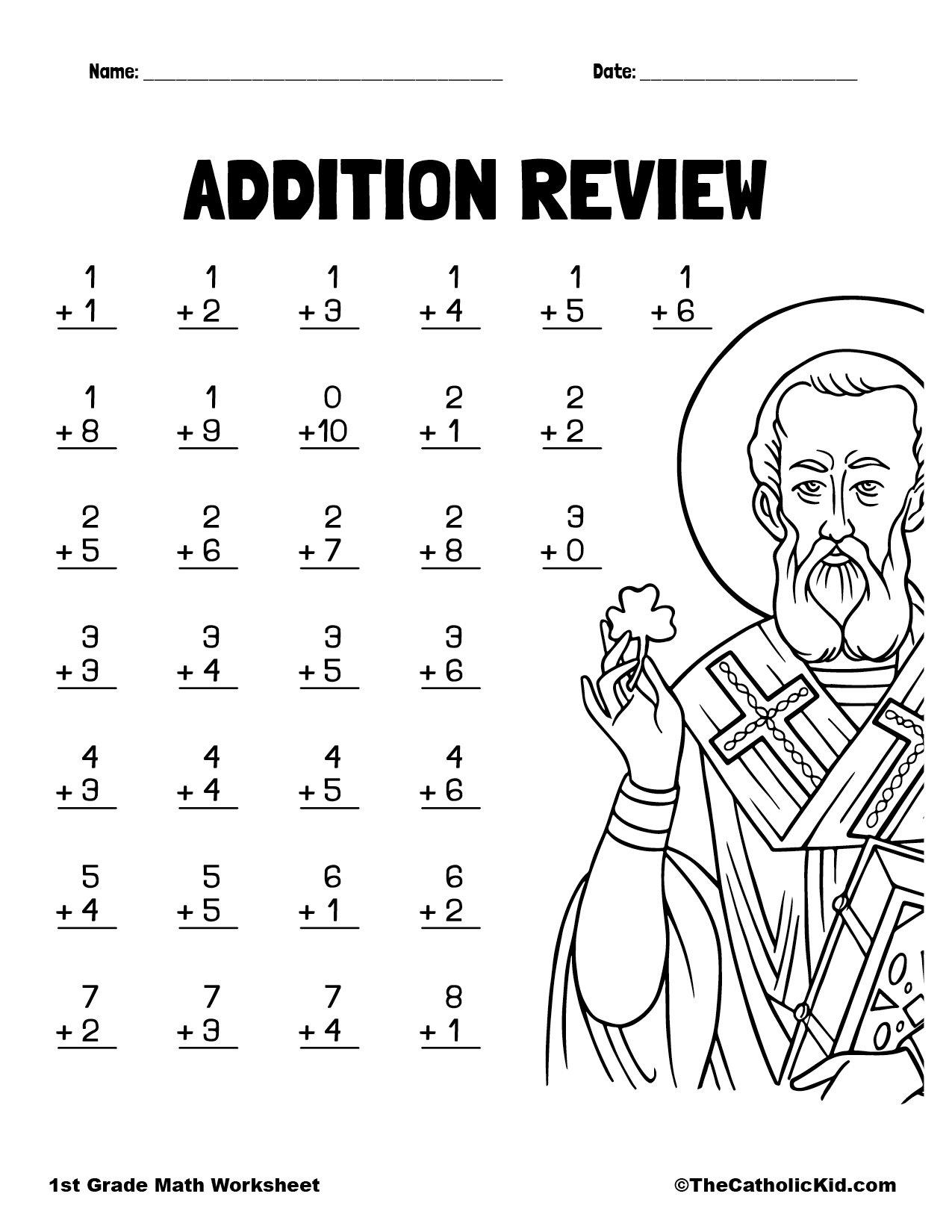 Adding Review Printout - 1st Grade Math Worksheet Catholic