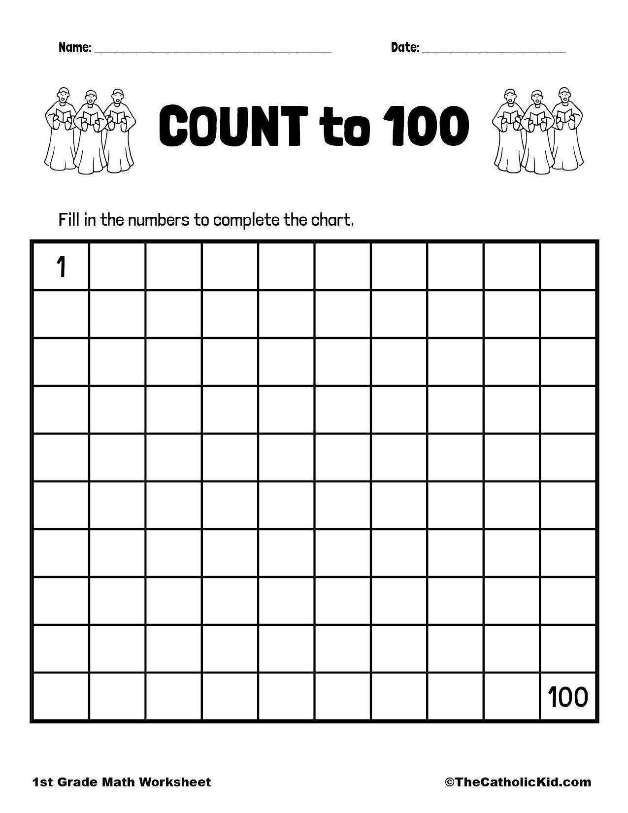 Count to 100 - 1st Grade Math Worksheet Catholic