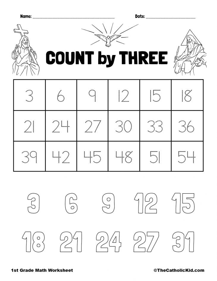 Count by Three - 1st Grade Math Worksheet Catholic
