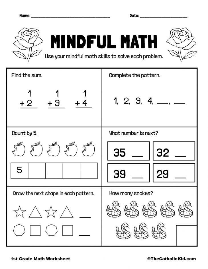 Math Worksheet - 1st Grade Math Worksheet Catholic