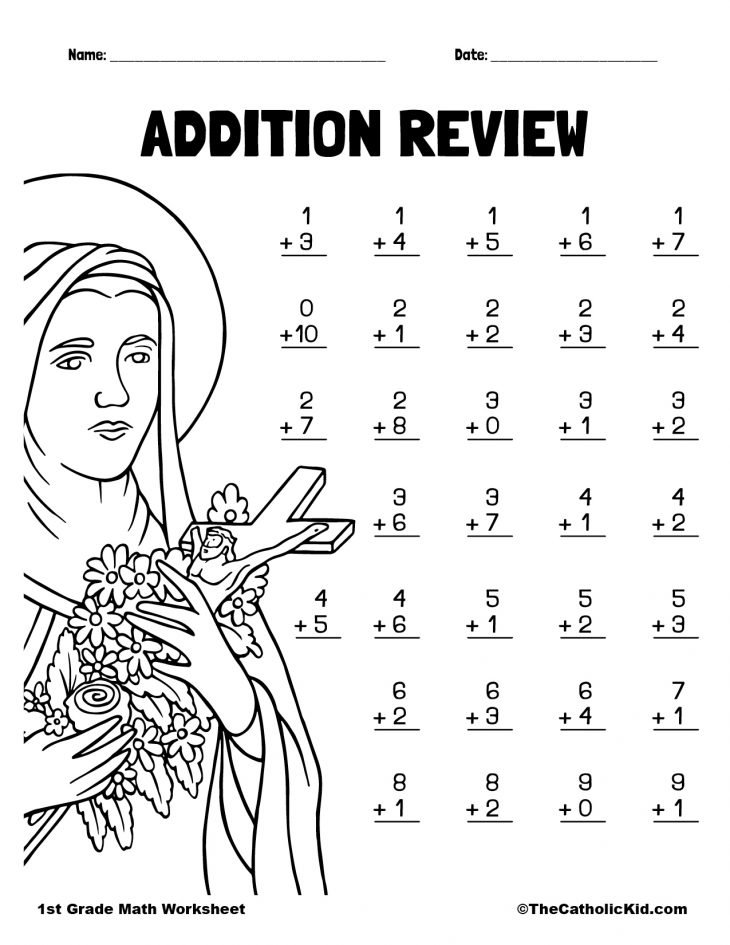 Addition Review - 1st Grade Math Worksheet Catholic