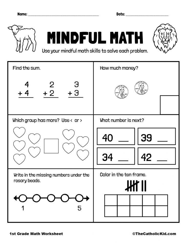 Math Review - 1st Grade Math Worksheet Catholic
