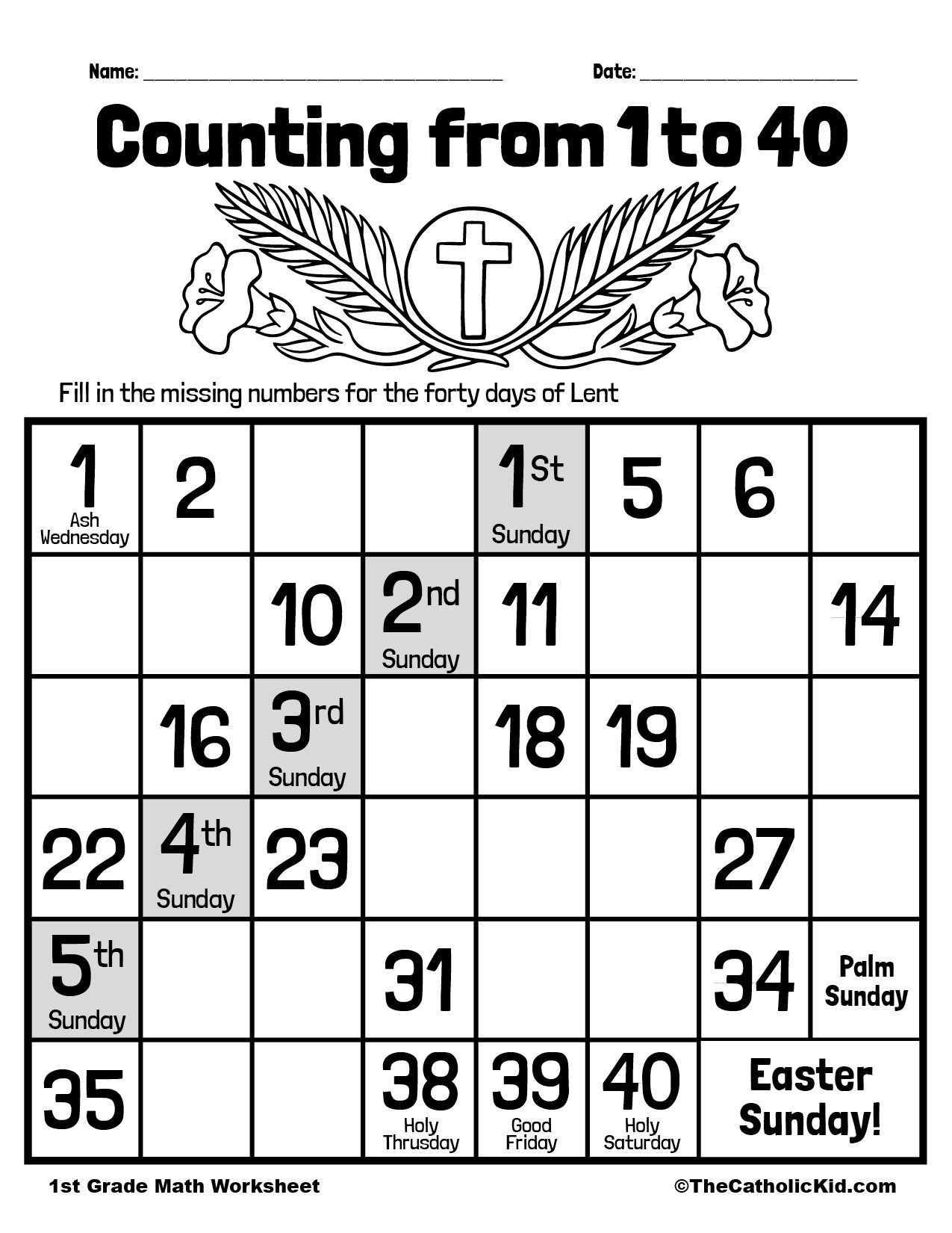 Count to 40 - 1st Grade Math Worksheet Catholic