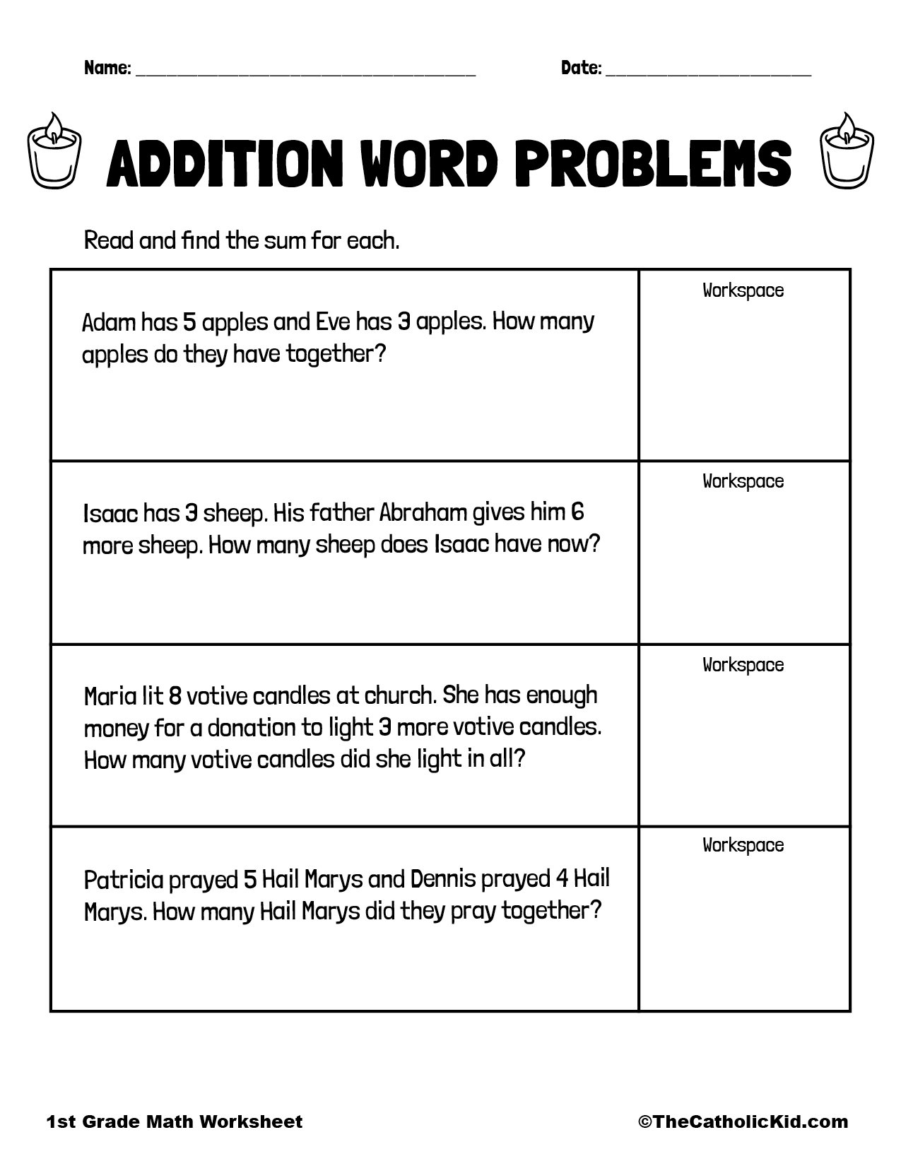 Addition Word & Story Problems - 1st Grade Math Worksheet Catholic