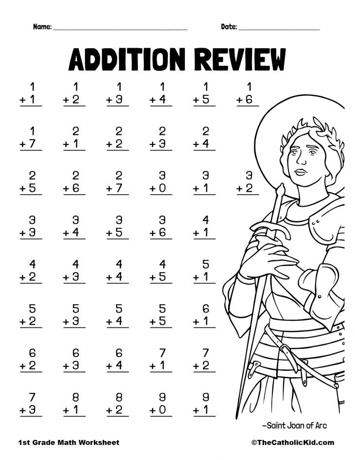 Addition Review with St. Joan of Arc - 1st Grade Math Worksheet Catholic