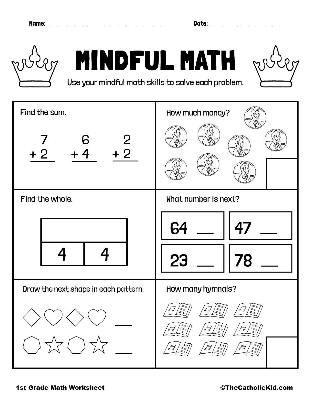 Mental Math Problems - 1st Grade Math Worksheet Catholic