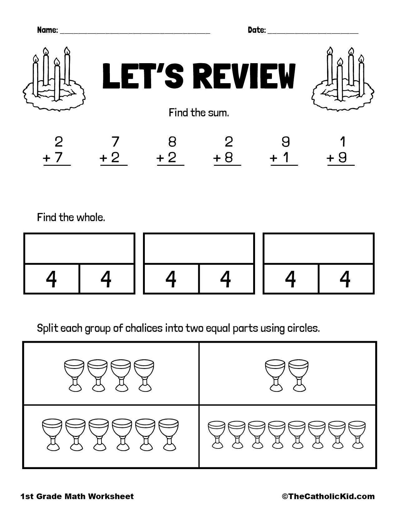 Addition & Fraction Review - 1st Grade Math Worksheet Catholic