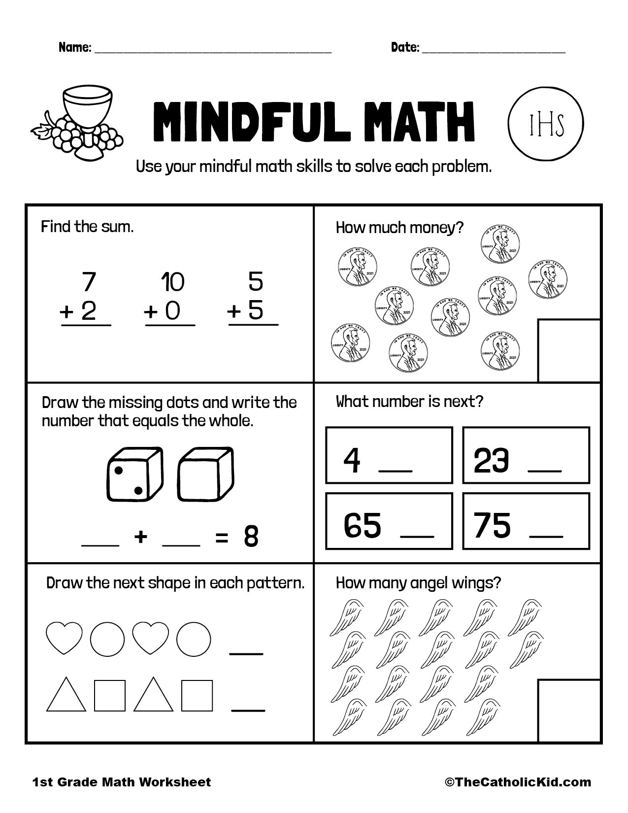 Mental Math Review - 1st Grade Math Worksheet Catholic