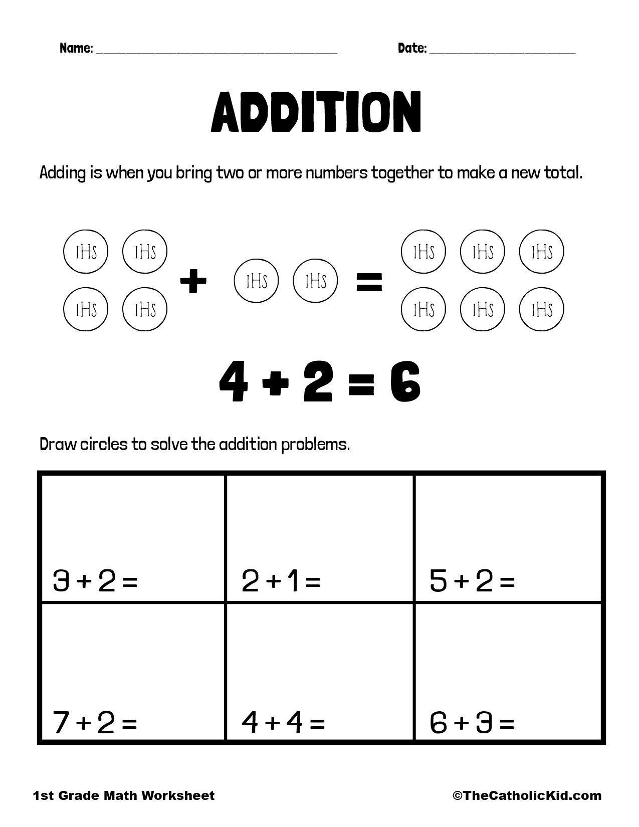 Addition - 1st Grade Math Worksheet Catholic