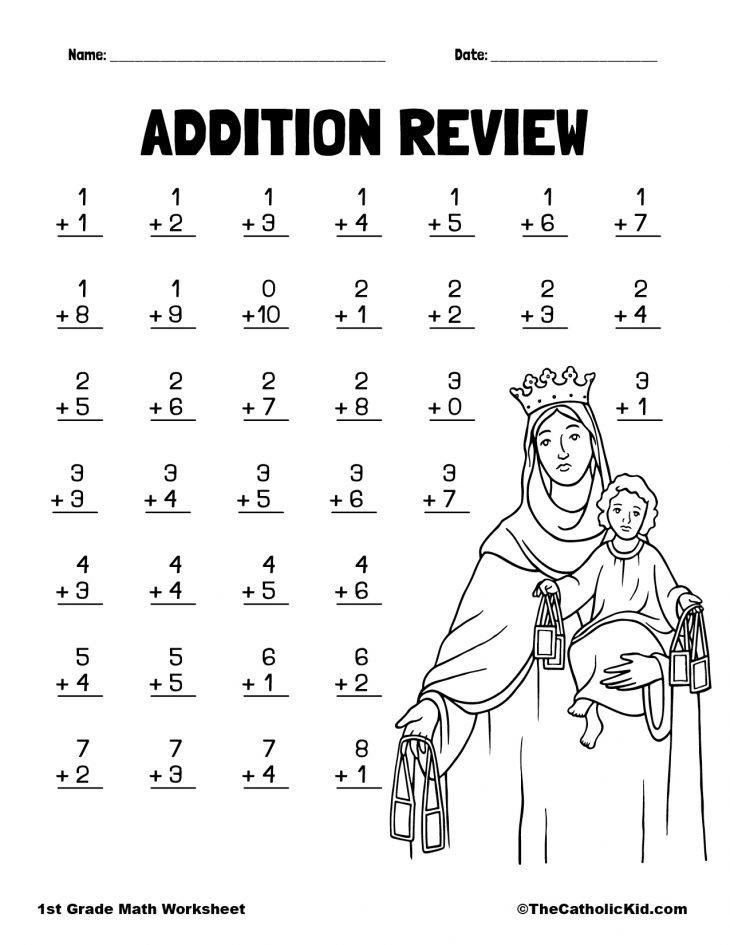 Addition Practice - 1st Grade Math Worksheet Catholic