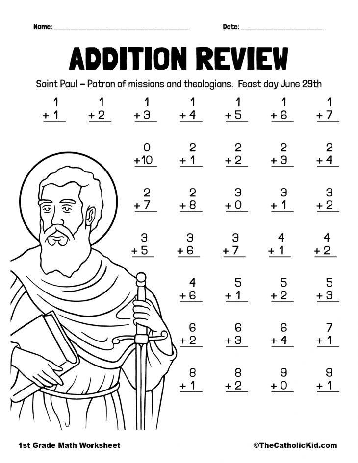 More Addition Review - 1st Grade Math Worksheet Catholic
