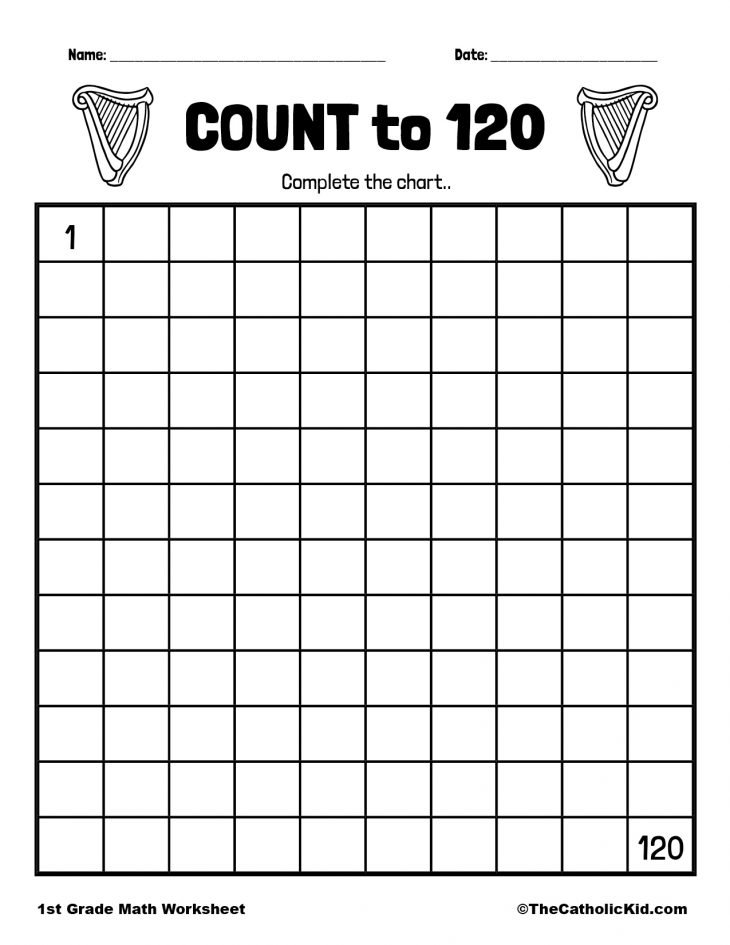 Count to 120 - 1st Grade Math Worksheet Catholic