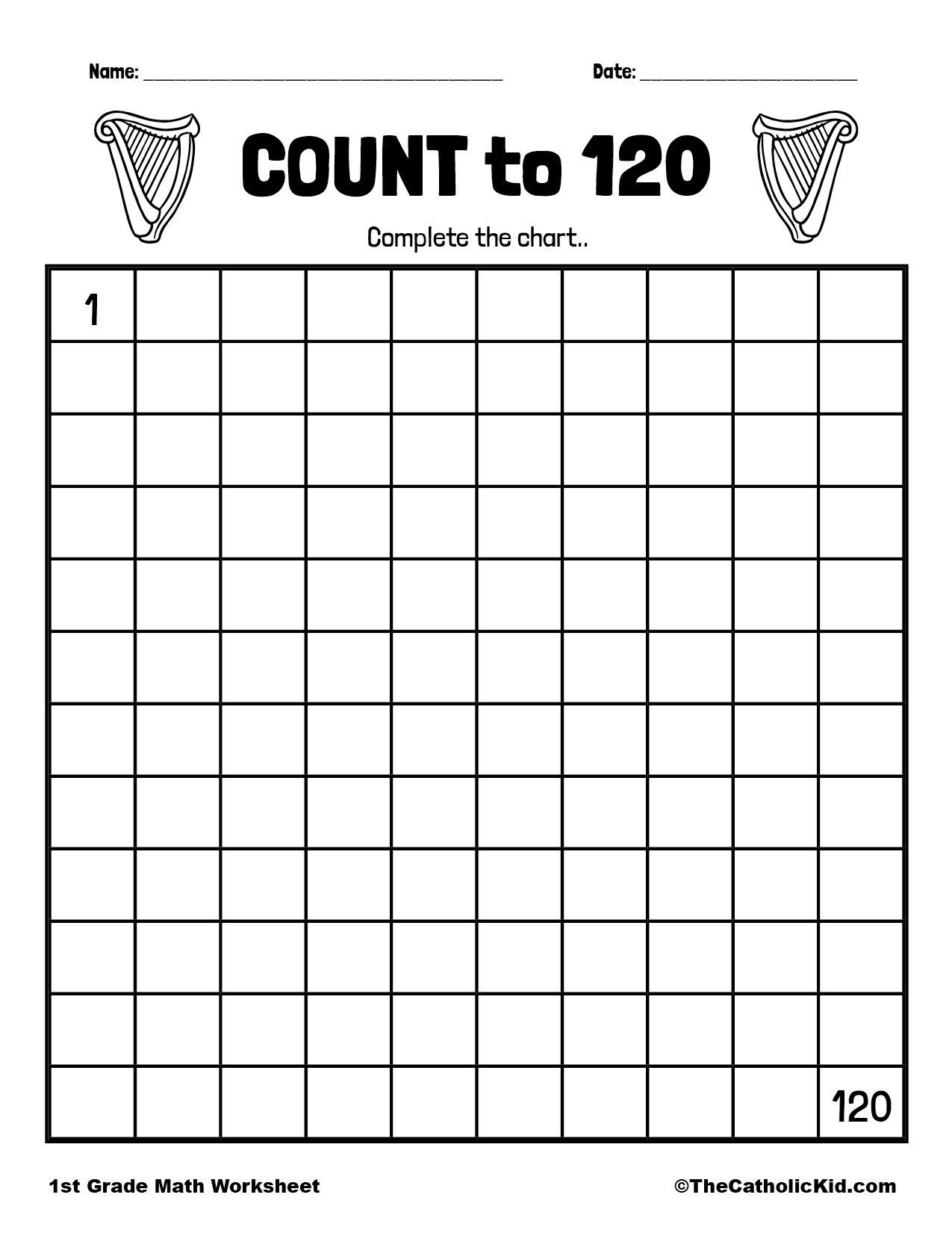 Count to 120 - 1st Grade Math Worksheet Catholic