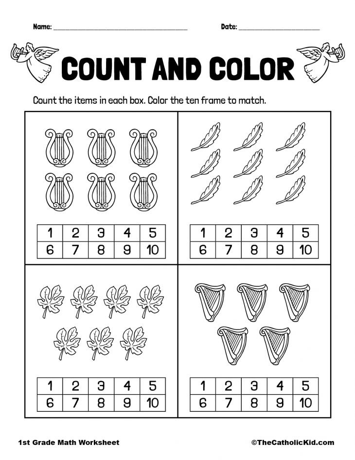 Count & Color - 1st Grade Math Worksheet Catholic