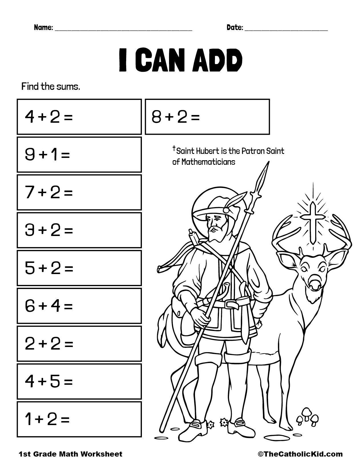 Find the Sums - 1st Grade Math Worksheet Catholic