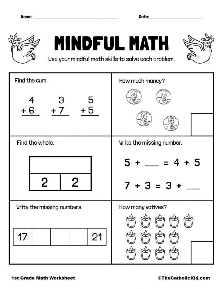 Mental Math Review - 1st Grade Math Worksheet Catholic