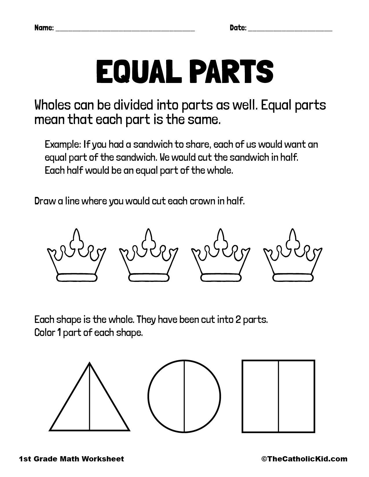 Equal Parts Fractions - 1st Grade Math Worksheet Catholic