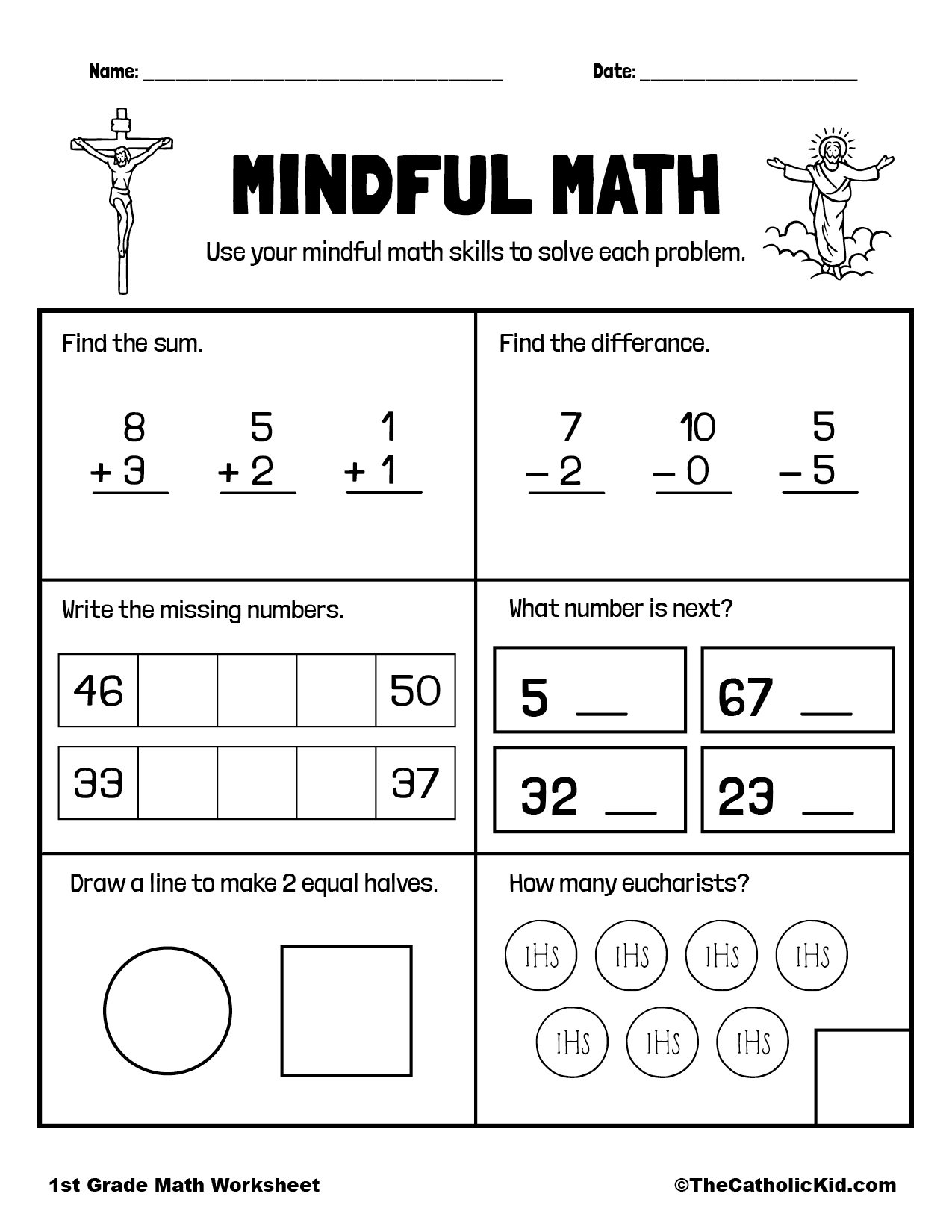 Math Review Page - 1st Grade Math Worksheet Catholic