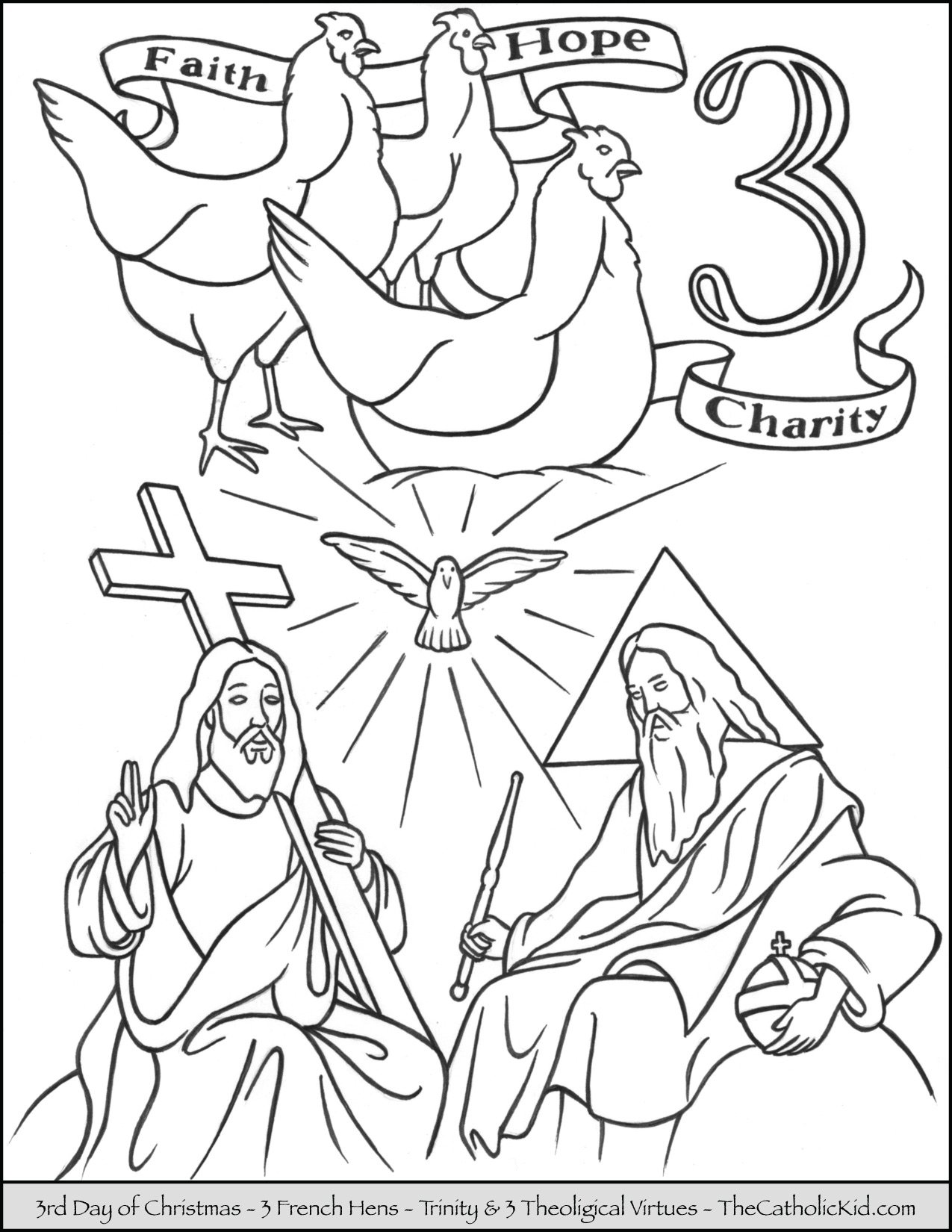 Third Day of Christmas Three French Hens Coloring Page