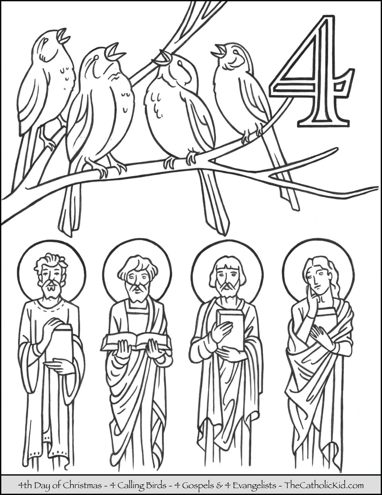 Fourth Day of Christmas Four Calling Birds Coloring Page