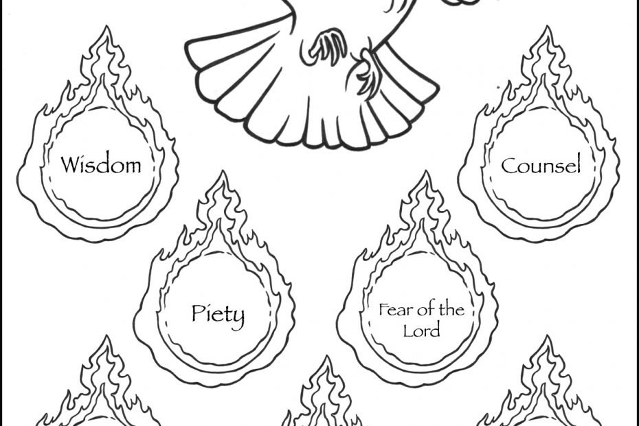 Seven Gifts of The Holy Spirit Coloring Page