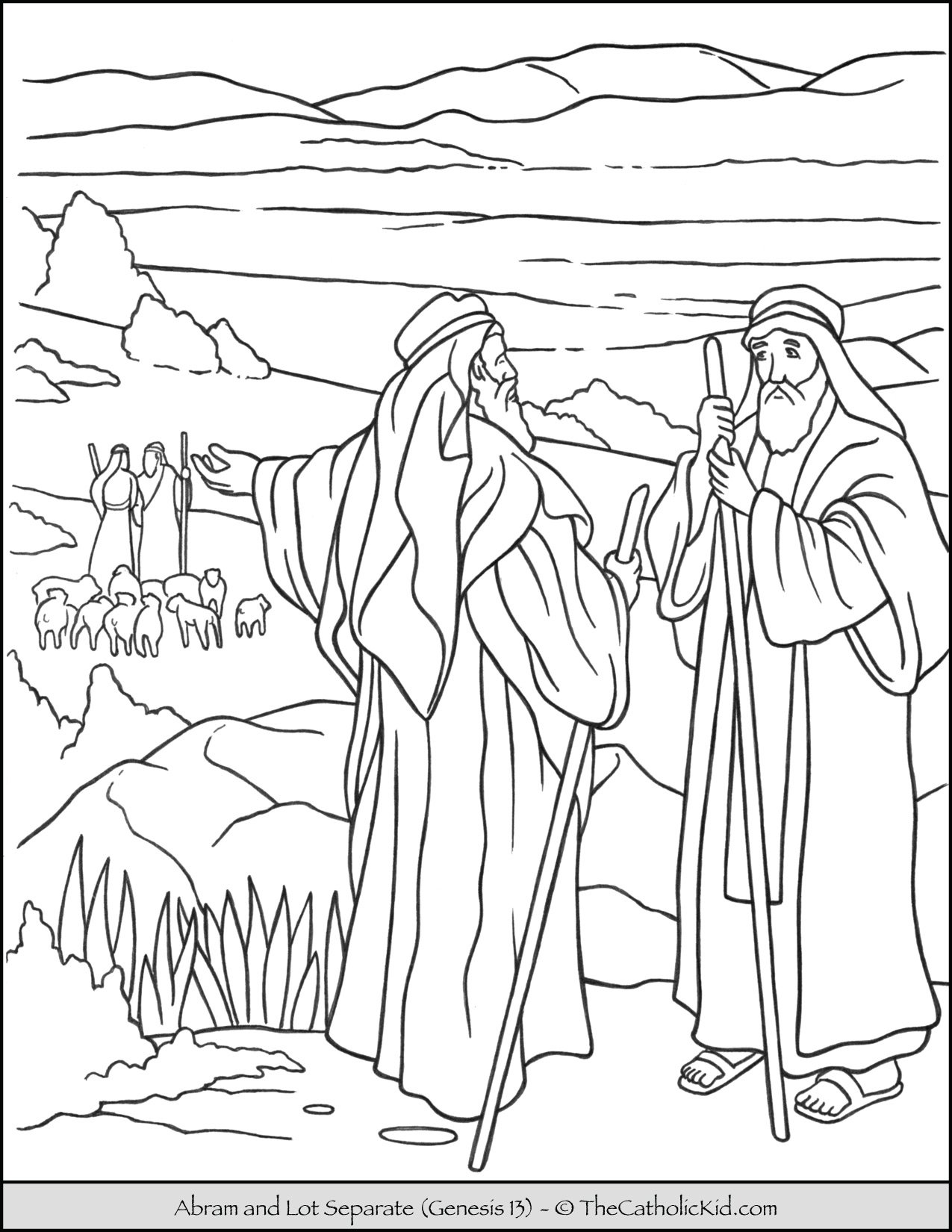 Abraham and Lot Bible Coloring Page