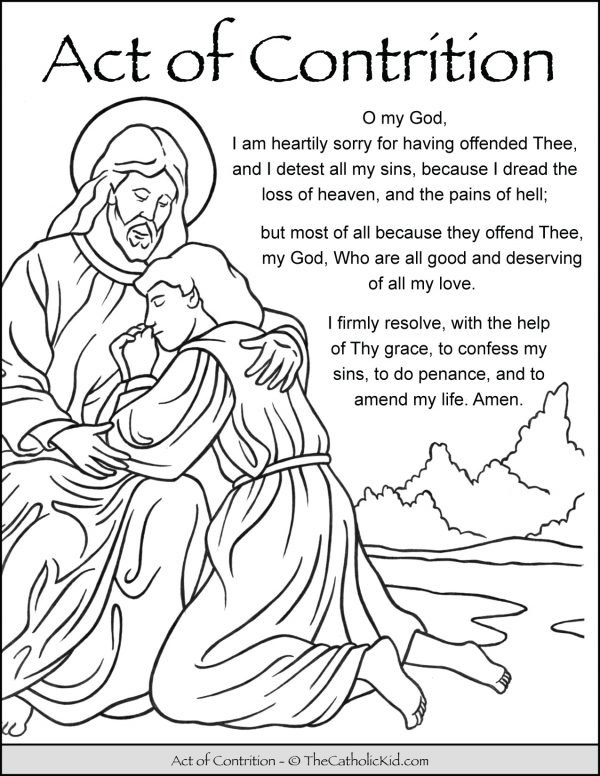 Act of Contrition Prayer Kids Coloring Page Printout