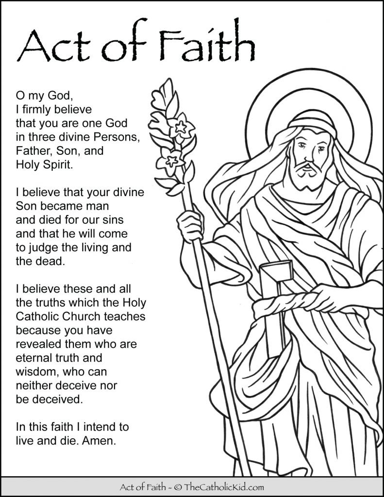 Act of Faith Prayer for Kids Coloring Page