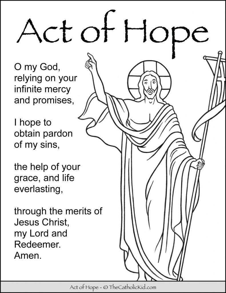 Act of Hope Prayer for Kids Coloring Page