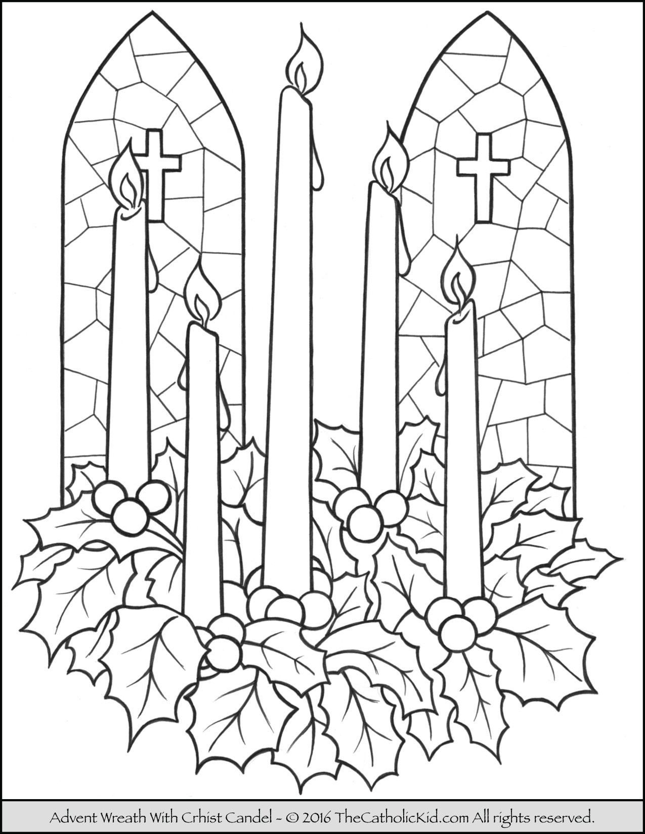 Advent Wreath Christ Candle Coloring Page