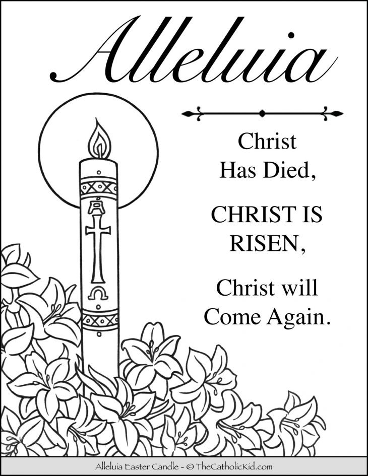 Alleluia Easter Candle Coloring Page