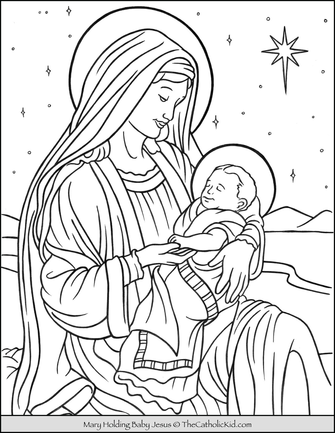 Mary With Baby Jesus in Bethlehem Coloring Page