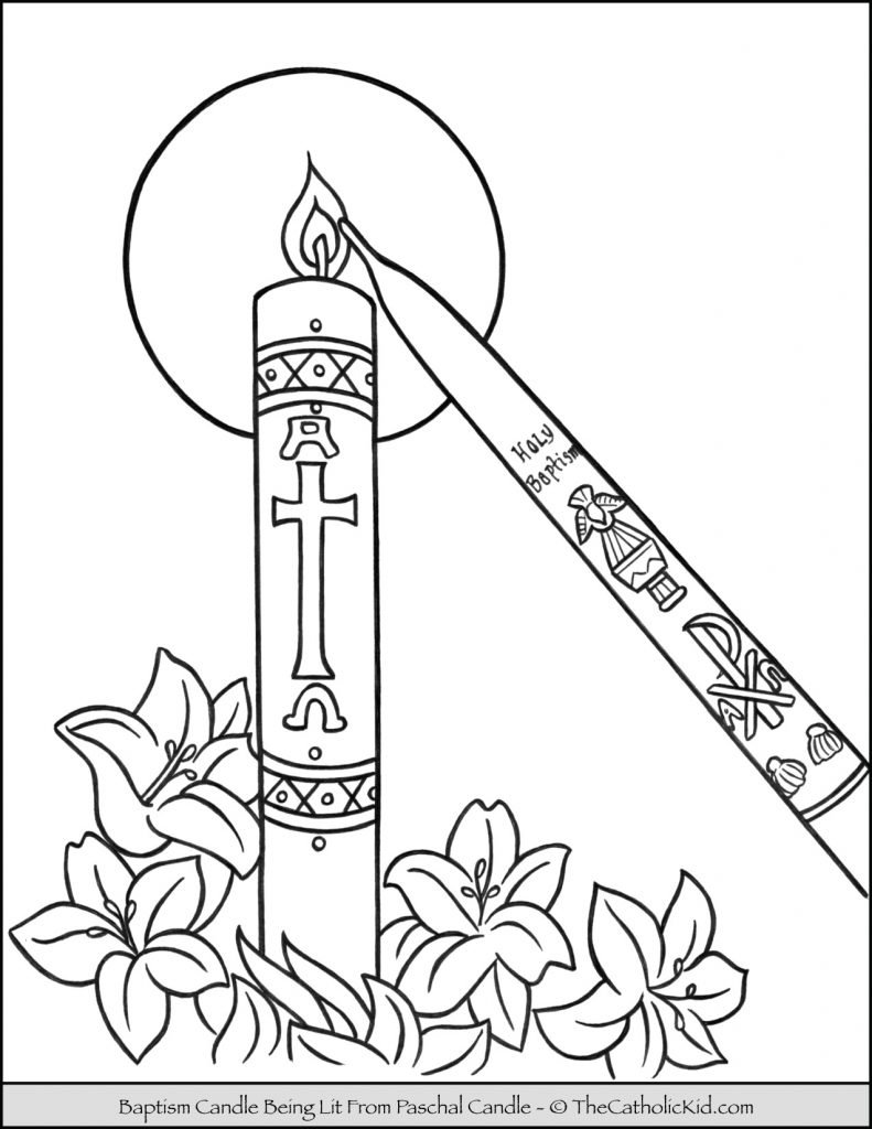 Baptism Candle Coloring Page