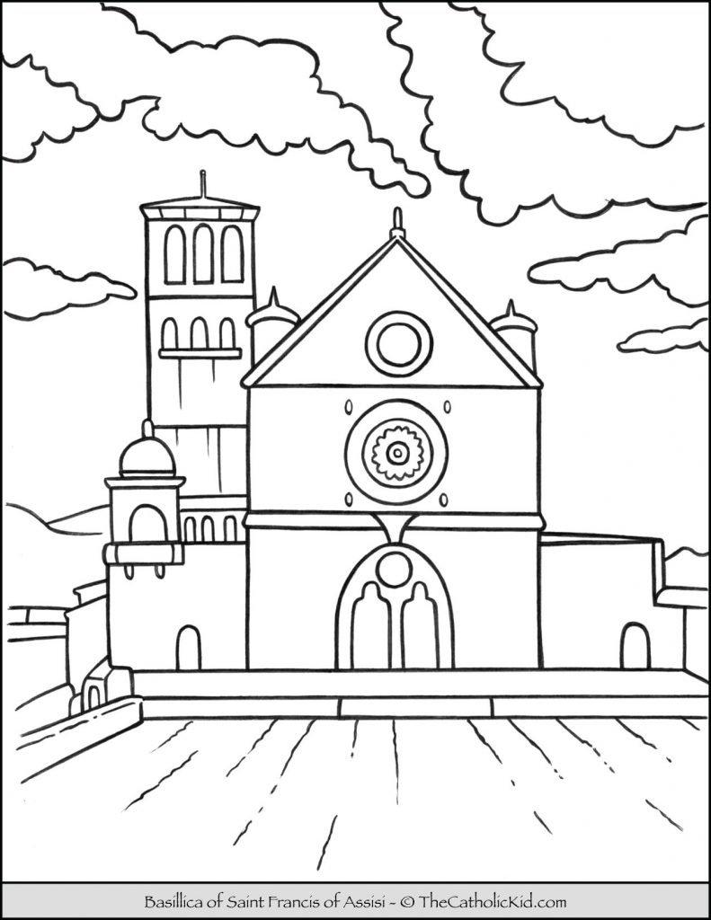 Basilica of Saint Francis of Assisi Coloring Page