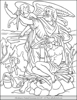 Bible Coloring Page Abraham is Tested Sacrifice Isaac Son