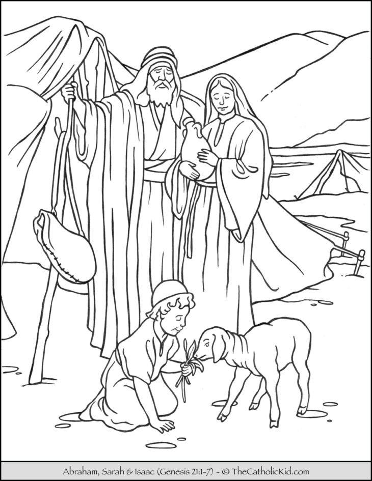 Bible Coloring Page Abraham Sarah Isaac