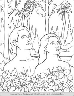 Bible Coloring Page - Adam and Eve in the Garden of Eden