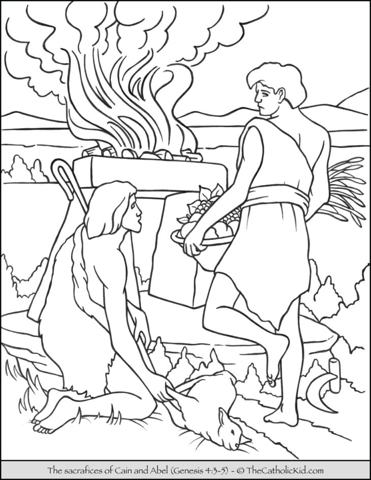 Bible Coloring Page - Sacrifice of Cain and Abel