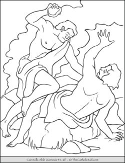 Bible Coloring Page - Cain kills Abel