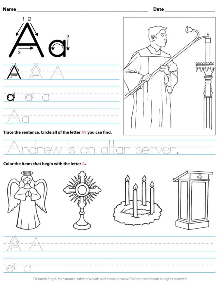 Catholic Alphabet Letter A Worksheet Preschool Kindergarten