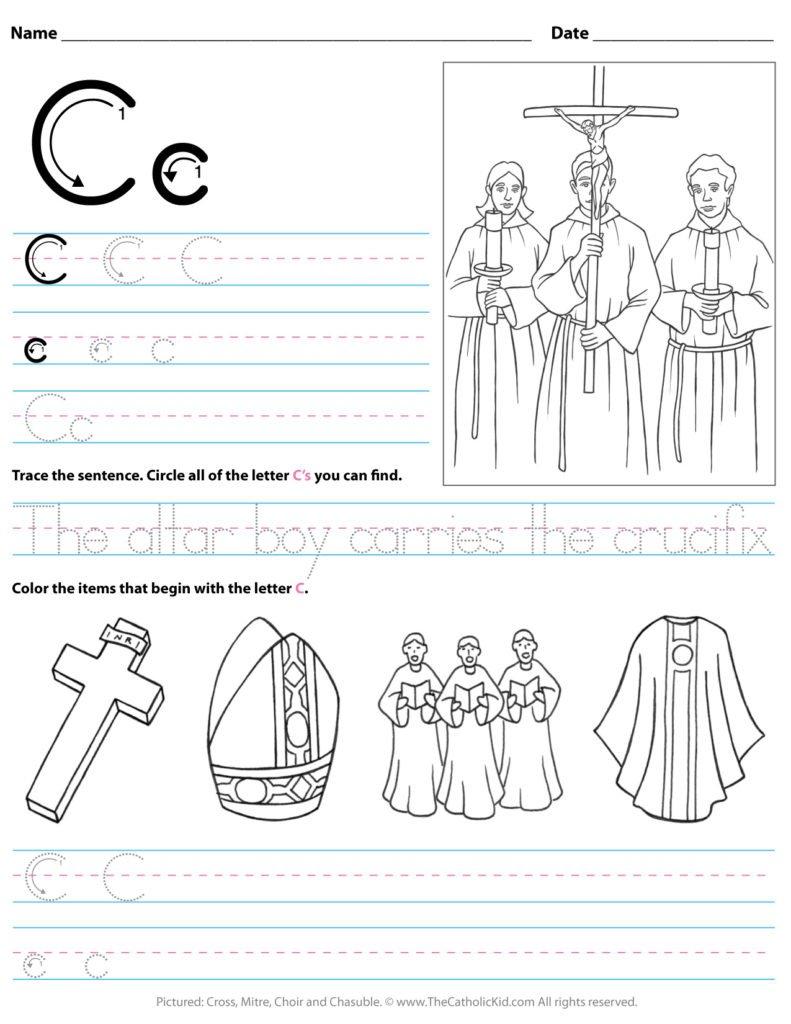 Catholic Alphabet Letter A Worksheet Preschool Kindergarten