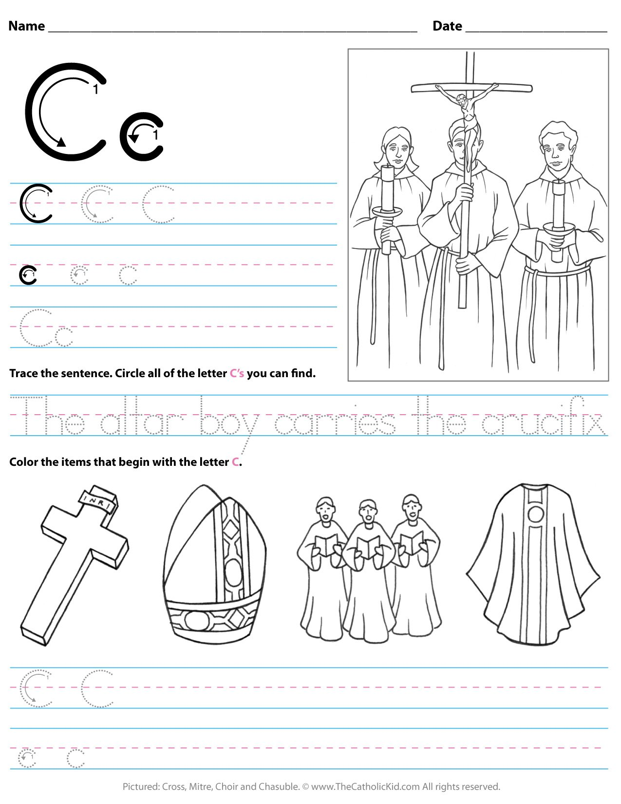 Catholic Alphabet Letter C Worksheet Preschool Kindergarten Thecatholickid Com