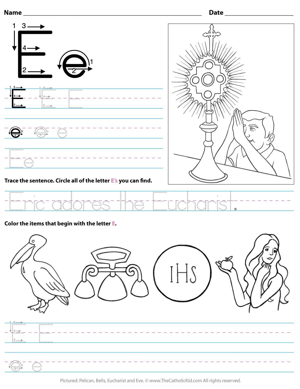 - Catholic Alphabet Letter E Worksheet Preschool Kindergarten