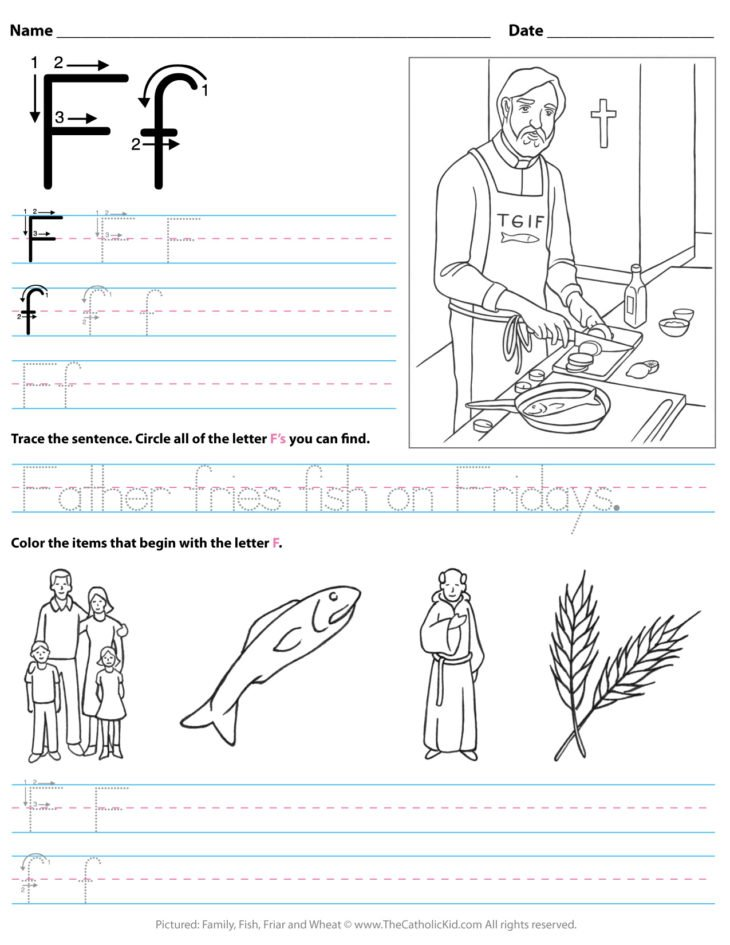 Catholic Alphabet Letter F Worksheet Preschool Kindergarten