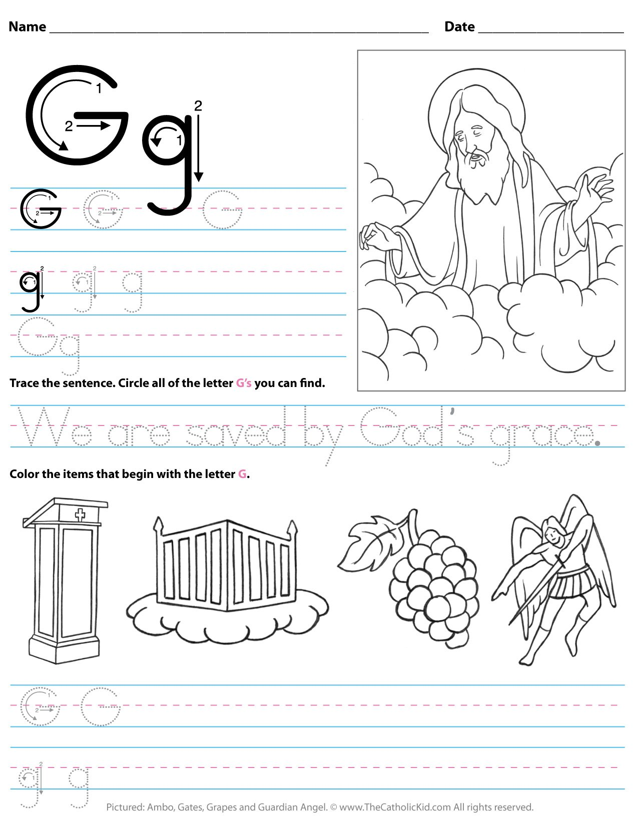 Catholic Alphabet Letter G Worksheet Preschool Kindergarten