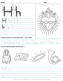 Catholic Alphabet Letter H Worksheet Preschool Kindergarten